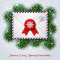 Christmas white envelope with red wax seal and postal stamp. Stock Photography