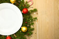 Christmas White Plate With Fir...