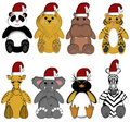 Christmas Wildlife Zoo Animals on White Background Stock Image