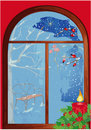 Christmas window with candle Royalty Free Stock Photos