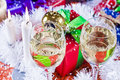Christmas wine and present Stock Images