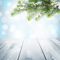 Christmas winter background with snow fir tree and wooden table Royalty Free Stock Photo