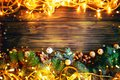 Christmas winter background, a table decorated with fir branches and decorations. Happy New Year. Merry Christmas.