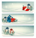 Christmas winter banners with presents vector Stock Image