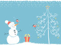 Christmas winter card with snowman for text blue background birds and on snow Royalty Free Stock Images