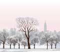 Christmas winter cityscape snow central park with luminous street lantern flakes and trees old street light in city alley Royalty Free Stock Images