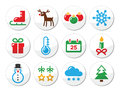 Christmas winter colorful icons set as round labels xmas snowman present tree reindeer isolated on white Stock Photos