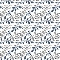 Transparent vector winter pattern with branches drawn in doodle
