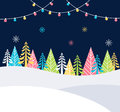 Christmas and Winter Holidays Events Festive Background with Snow, Trees and Christmas Lights. Vector Poster Template Royalty Free Stock Photo