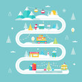 Christmas and Winter Holidays Road Map. Lights, City, Market, Mountain Cable Cars and Santa. Vector Illustration Royalty Free Stock Photo