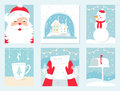 Christmas and Winter Holidays Vector Cards. Santa Claus, Snow Globe, Snowman, Letter to Santa and Mailbox. Royalty Free Stock Photo