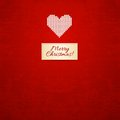 Christmas and winter knitted card with heart Royalty Free Stock Images