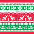Christmas and winter knitted pattern card scandynavian sweater style red green xmas seamless background with reindeer nordic Stock Photo
