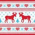 Christmas and Winter knitted pattern scandynavian Royalty Free Stock Image