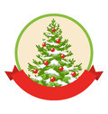 Christmas Winter Label Icon with Decoration Evergreen Tree