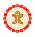 Christmas Winter Lacy Label Icon with Gingerbread Man on Isolate