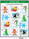 Find two Christmas postage stamps that are the same