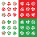 Christmas winter red and green snowflakes icons set with isolated on white on background Stock Photography