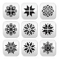 Christmas winter snowflakes buttons set shapes isolated on white Royalty Free Stock Images