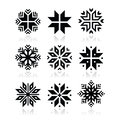 Christmas winter snowflakes icons set with reflection isolated on white Stock Photography