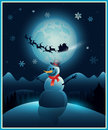 Christmas winter snowman background greeting card with and santa claus eps Royalty Free Stock Photos