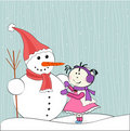 Christmas winter snowman and little girl Stock Images