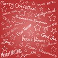 Christmas wishes merry season doodle in multiple languages background Royalty Free Stock Photography