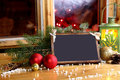 Christmas wishes your text wooden tablet in eve day for sample Royalty Free Stock Photography