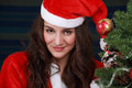 Christmas woman beautiful portrait with santa costume Royalty Free Stock Photos
