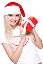 Christmas woman with holiday gift Royalty Free Stock Photo