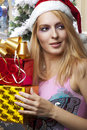 Christmas. woman in santa claus hat Royalty Free Stock Photo