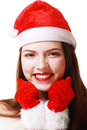 Christmas woman smiling portrait close up young wearing santa hat Stock Photos