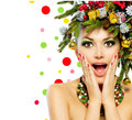 Christmas woman tree holiday hairstyle and make up Royalty Free Stock Photos