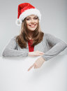 Christmas woman, white banner against gray background. White ad Royalty Free Stock Photo