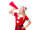 Christmas woman yell with shout megaphone on white background Stock Photo