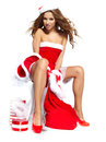 Christmas women with gifts Stock Image
