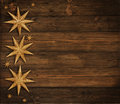 Christmas Wooden Background, Golden Stars Decoration, Brown Wood Royalty Free Stock Photo