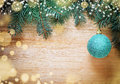Christmas wooden background with pine and ball Royalty Free Stock Photo