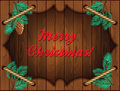 Christmas wooden frame with fir branches and ropes Stock Images