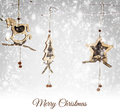 Christmas wooden ornaments hanging on snowy branch Stock Image