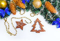 Christmas wooden shapes Royalty Free Stock Photo