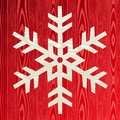 Christmas wooden snowflake greeting card Stock Photography