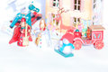 Christmas wooden toys in decorative theater closeup zoom view Stock Photography