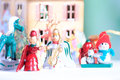 Christmas wooden toys in decorative theater closeup zoom view Royalty Free Stock Photography