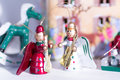 Christmas wooden toys in decorative theater closeup zoom view Royalty Free Stock Images