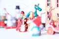 Christmas wooden toys in decorative theater closeup zoom view Stock Photo