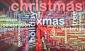 Christmas word cloud glowing Royalty Free Stock Photo