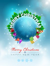 Christmas world vector illustration and new year greeting design template elements are layered separately in vector file Royalty Free Stock Images