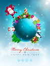 Christmas world vector illustration and new year greeting design template elements are layered separately in vector file Stock Photos