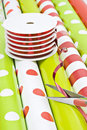 Christmas wrapping paper and ribbon Royalty Free Stock Image